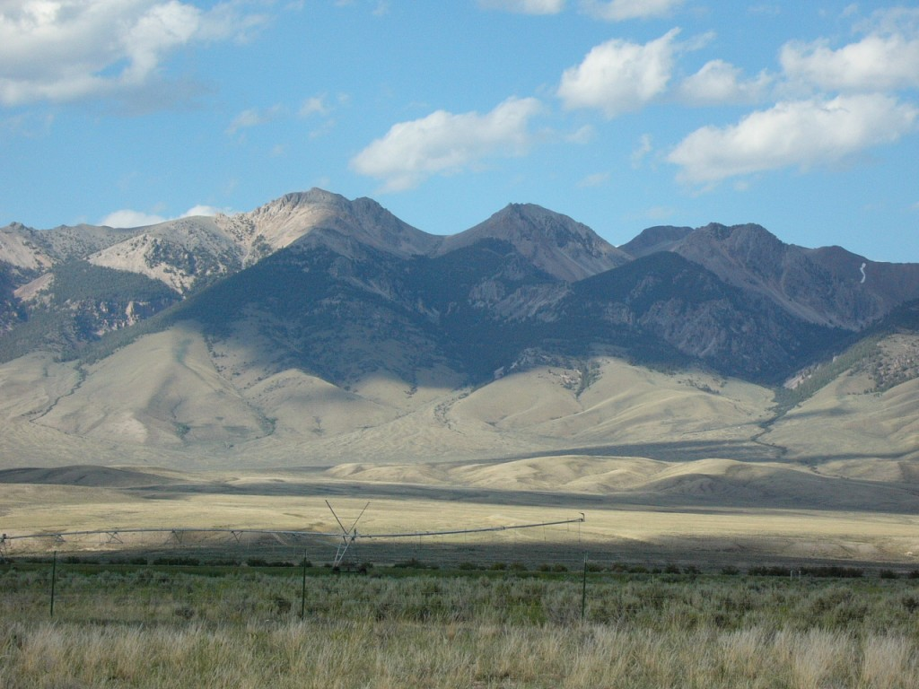 Nicholson Peak on the left and Peak 10965 from the Lemhi River valley floor.