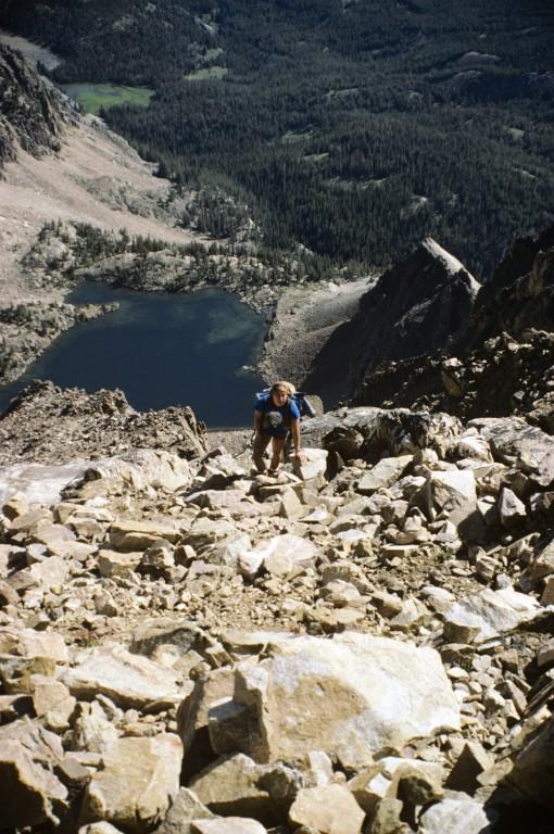 Dana Hansen climbing the Big Gully Route on Castle Peak.