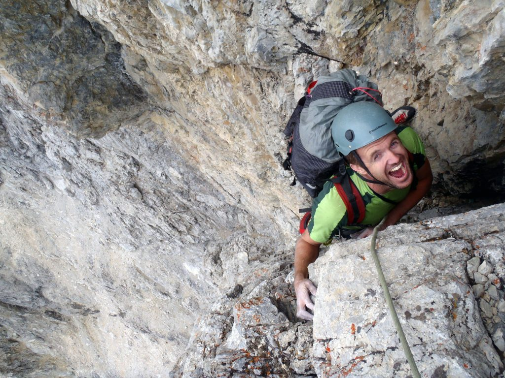 Cory, getting to the top of the last pitch. Ecstatic is an understatement!Photo - Kevin Hansen