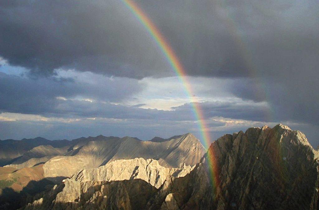 Rainbow over Sacajawea Peak.