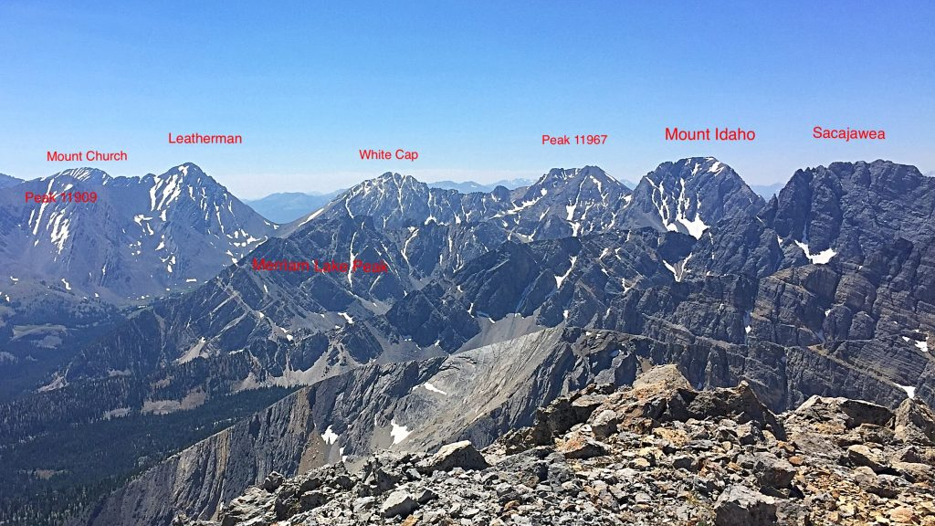 The Lost River Range Crest from Mount Idaho to Sacajawea.