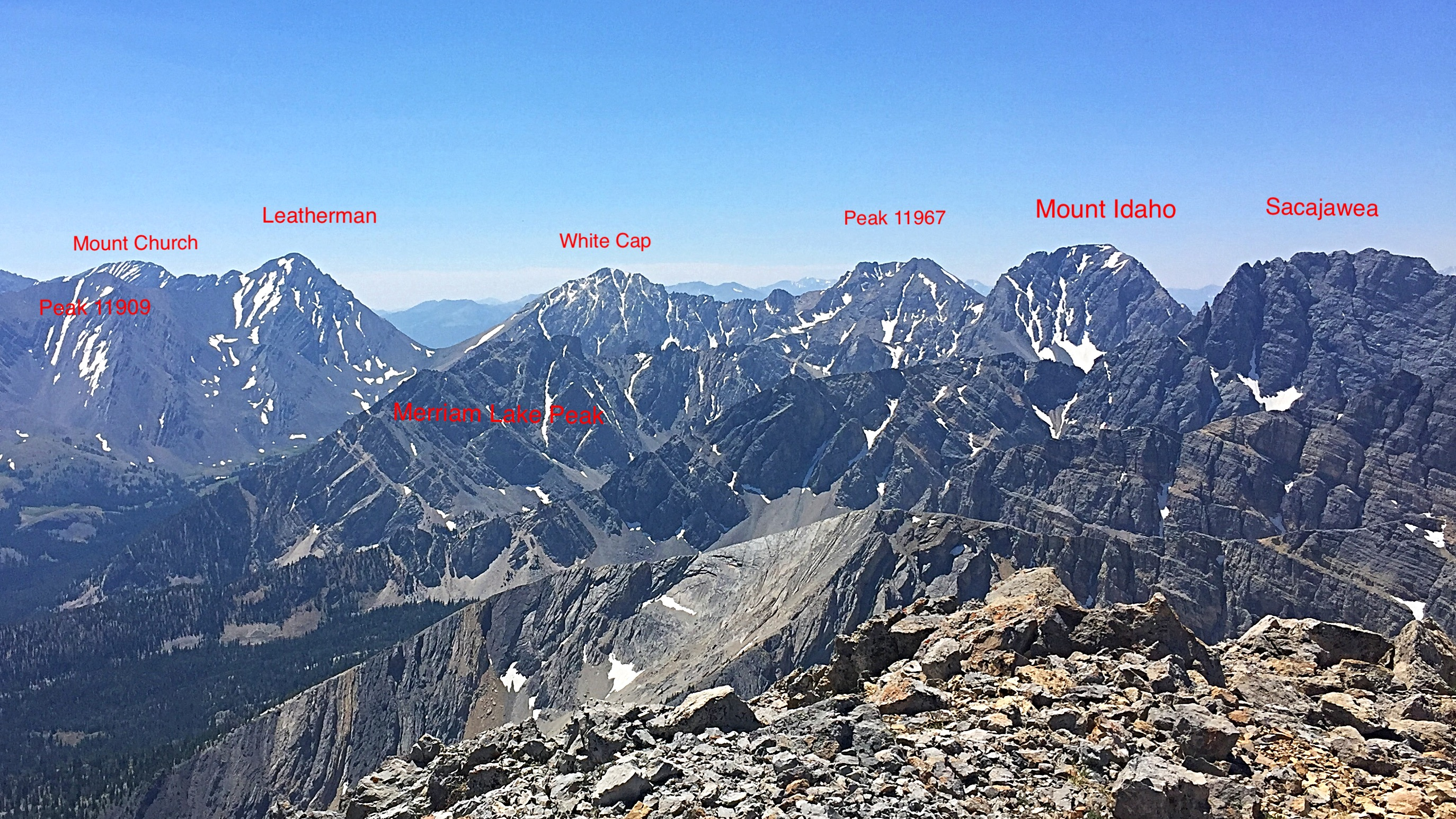 The main Lost,River Range crest viewed from Mountaineers Peak.