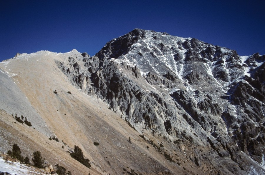 Mount Idaho's standard route climbs to the skyline ridge and follows the ridge until a ledge leads out on to the West Face.
