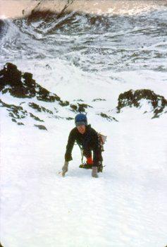 High on the North Face of Borah. Photo - Bob Boyles