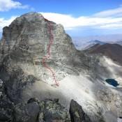 East Face of Devils Bedstead East - Mega Dihedral Route (III, 5.8).