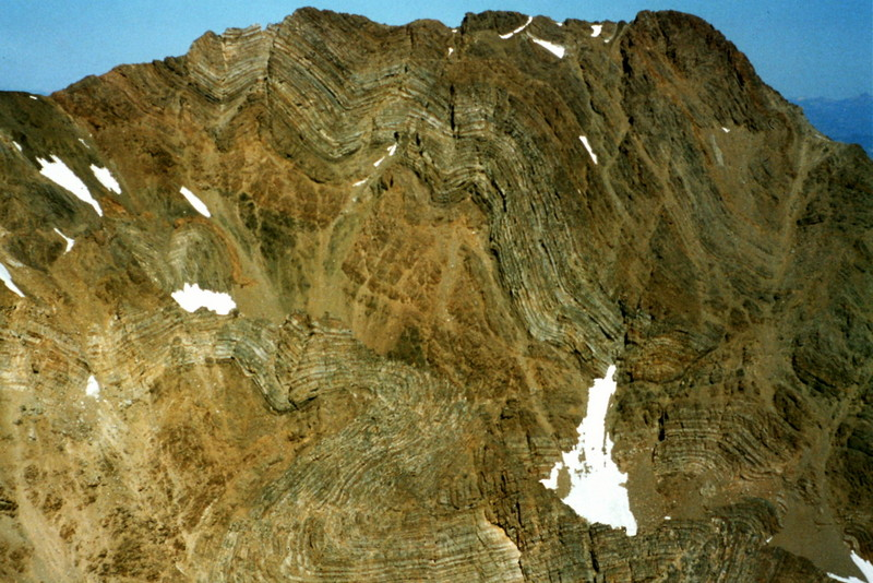 If you like contorted rock, the Lost River Range is the place to visit. This contorted wall is on the side of Peak 11967.