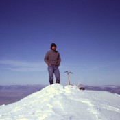 The summit, November 1980. Notice the climbing attire of the day.
