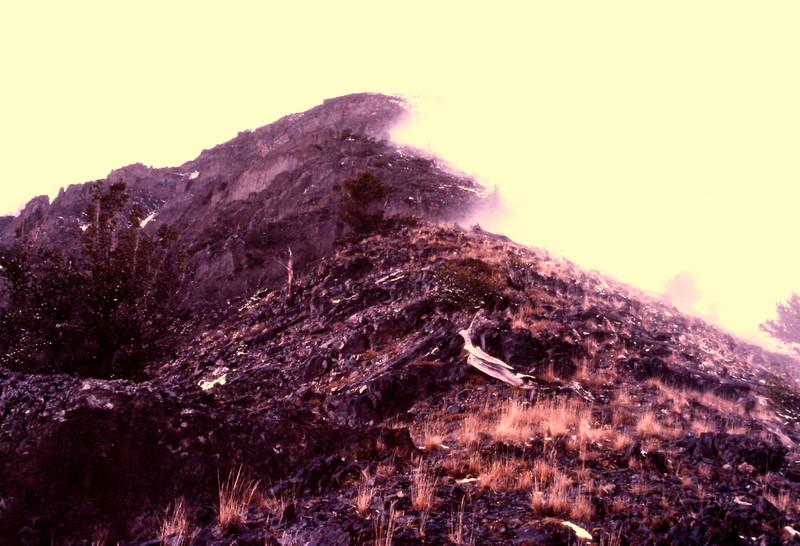 Starting up the peak's east ridge, November 1981.