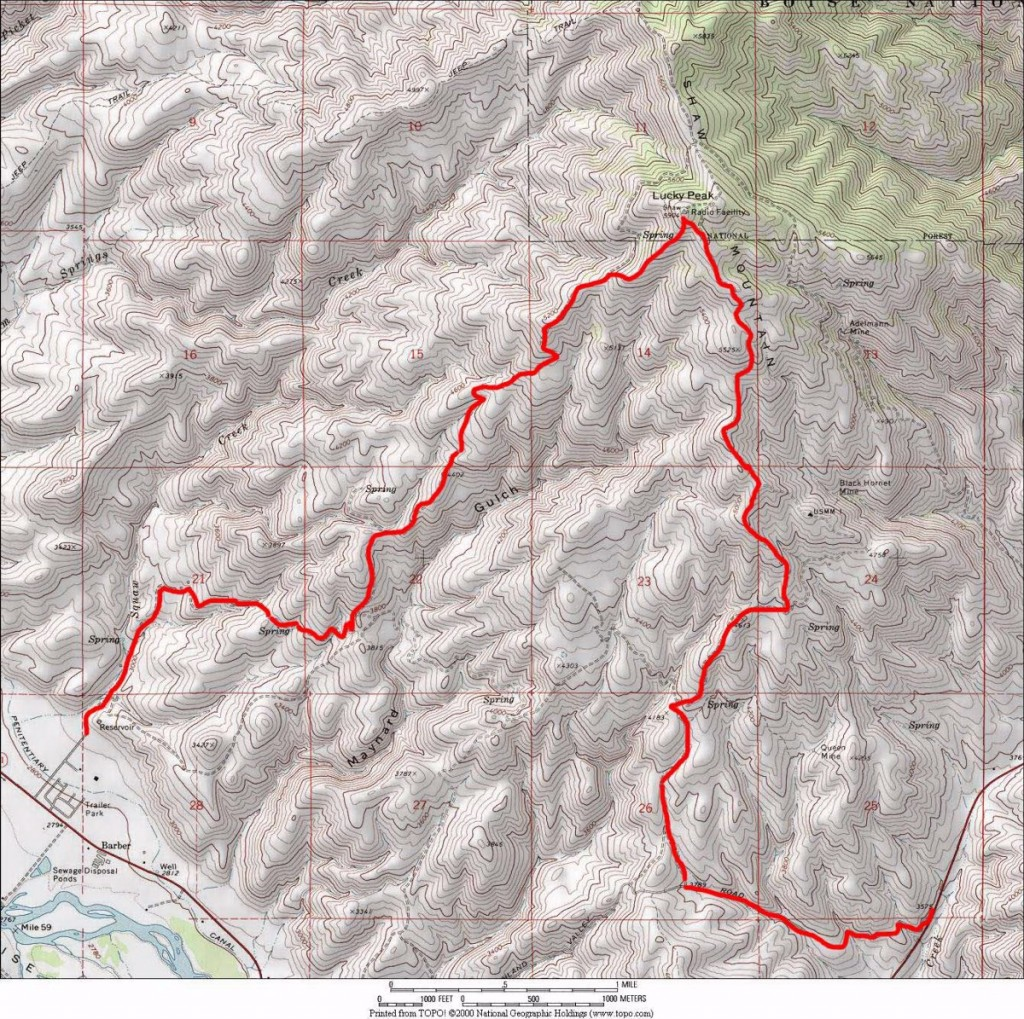 The Golden Dawn/Northwest Ridge and Highland Valley/Shaw Mountain Road routes.