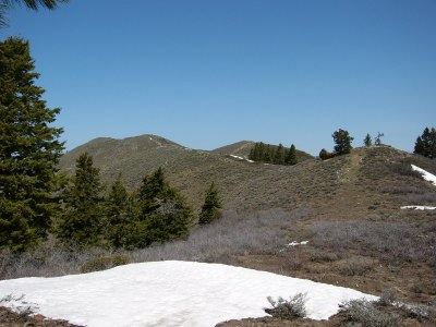 View looking toward the summit from the low point between Point 5402 and the summit.