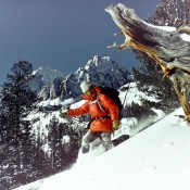 Joe Leonard skiing below Castle Peak in 1972. A photo taken by a National Geographic photographer. Joe Leonard Collection