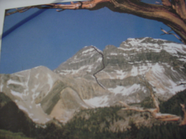 Lyman's sketch showing the Rock Creek approach to the East Face of Mt Borah. Photo - Lyman Dye