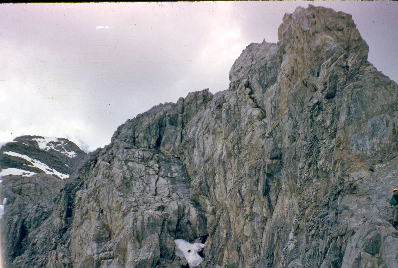 Looking up the route. Wayne Boyer is barely visible on the right side of this photo. Photo - Lyman Dye