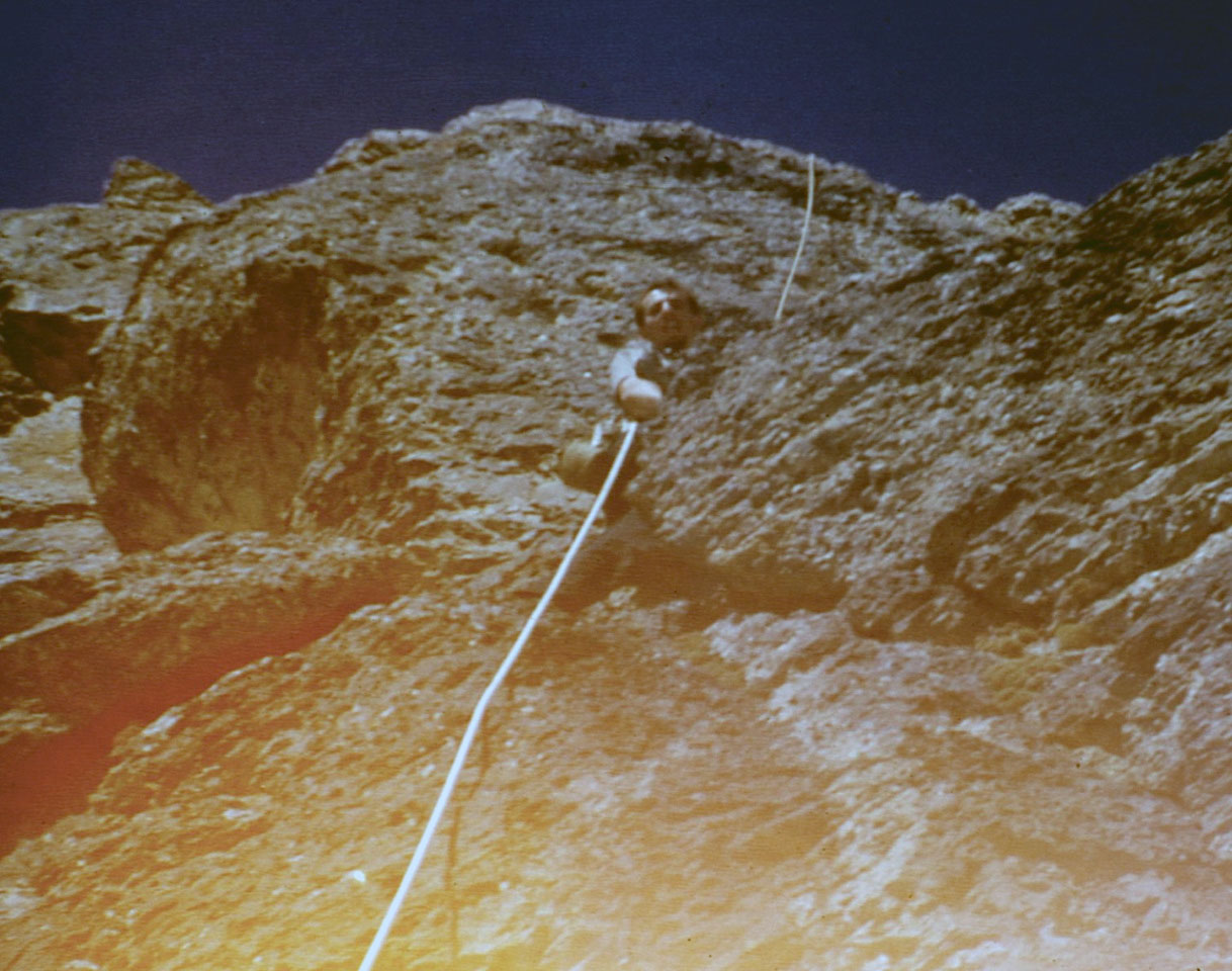 Wayne Boyer climbing on the East Face. Photo - Lyman Dye