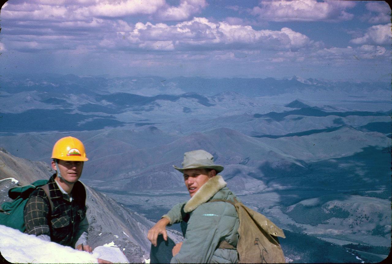 Lyman and Wayne on the summit of Mount Borah. Lyman Dye Collection
