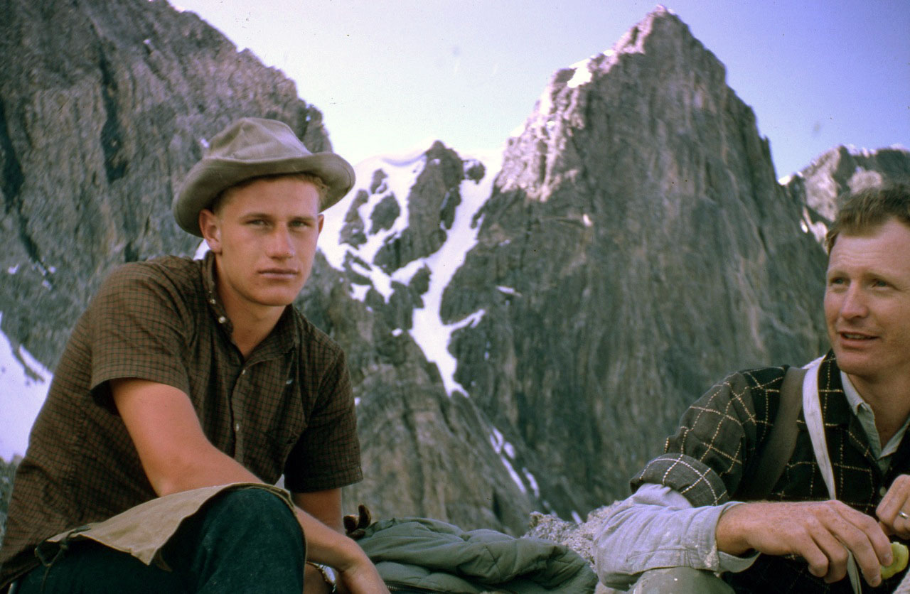Wayne and Lyman with the col and Northeast ridge in the background. Photo - Lyman Dye