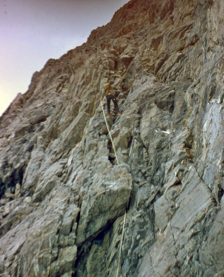Rappelling down the East Face of Mount Borah. Photo - Lyman Dye