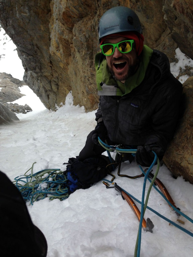 Cory on belay below the crux pitch. Photo - Kevin Hansen