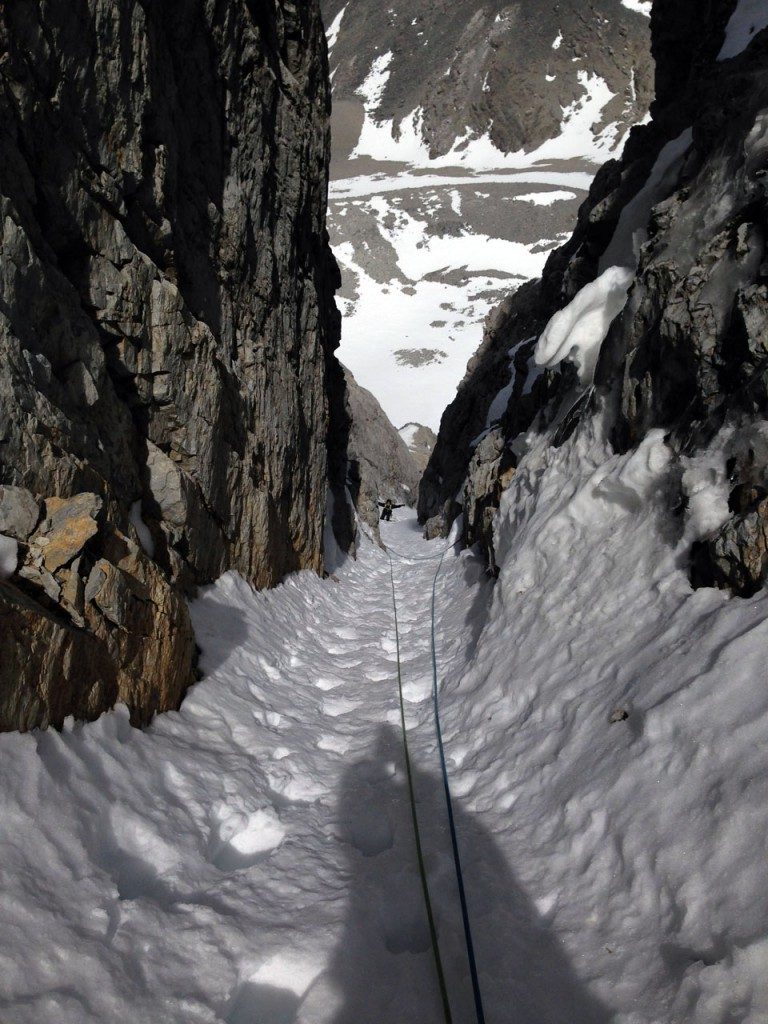 Looking back down the last pitch as Kevin simul-climbs behind me. Photo - Cory Harelson