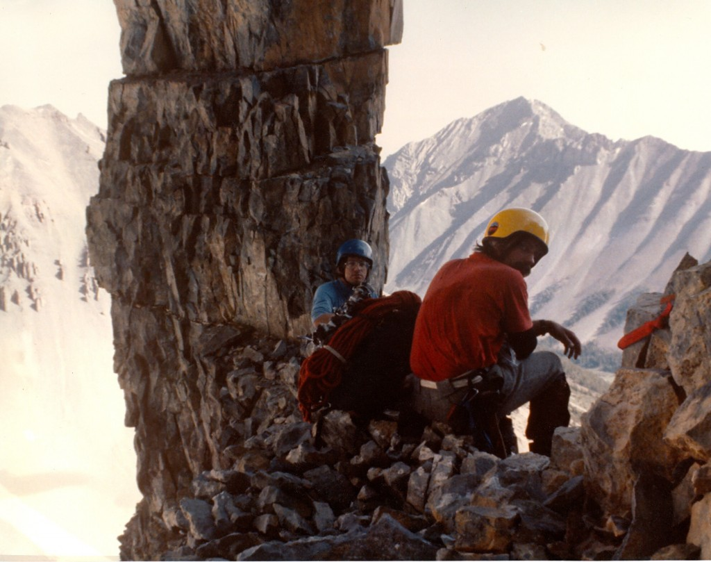 Bob and Mike at the limestone stack at the start of the technical climbing on the north face of Mt Breitenbach. Amazingly, this stack appears to have survived the 1983 magnitude 6.9 earthquake totally intact. (Photo by Curt Olson) First ascent of the North Face Breitenbach. Bob Boyles' collection. Photo