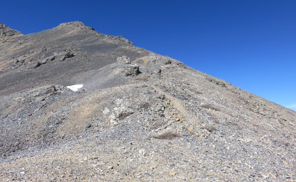 The ridge is a talus slog in its mid-section. Dan Paulson Photo