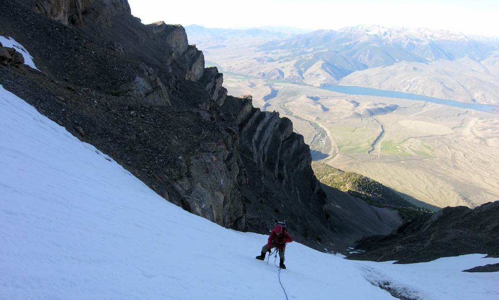Looking down the route with the valley, far, far below. Dan Paulson Photo