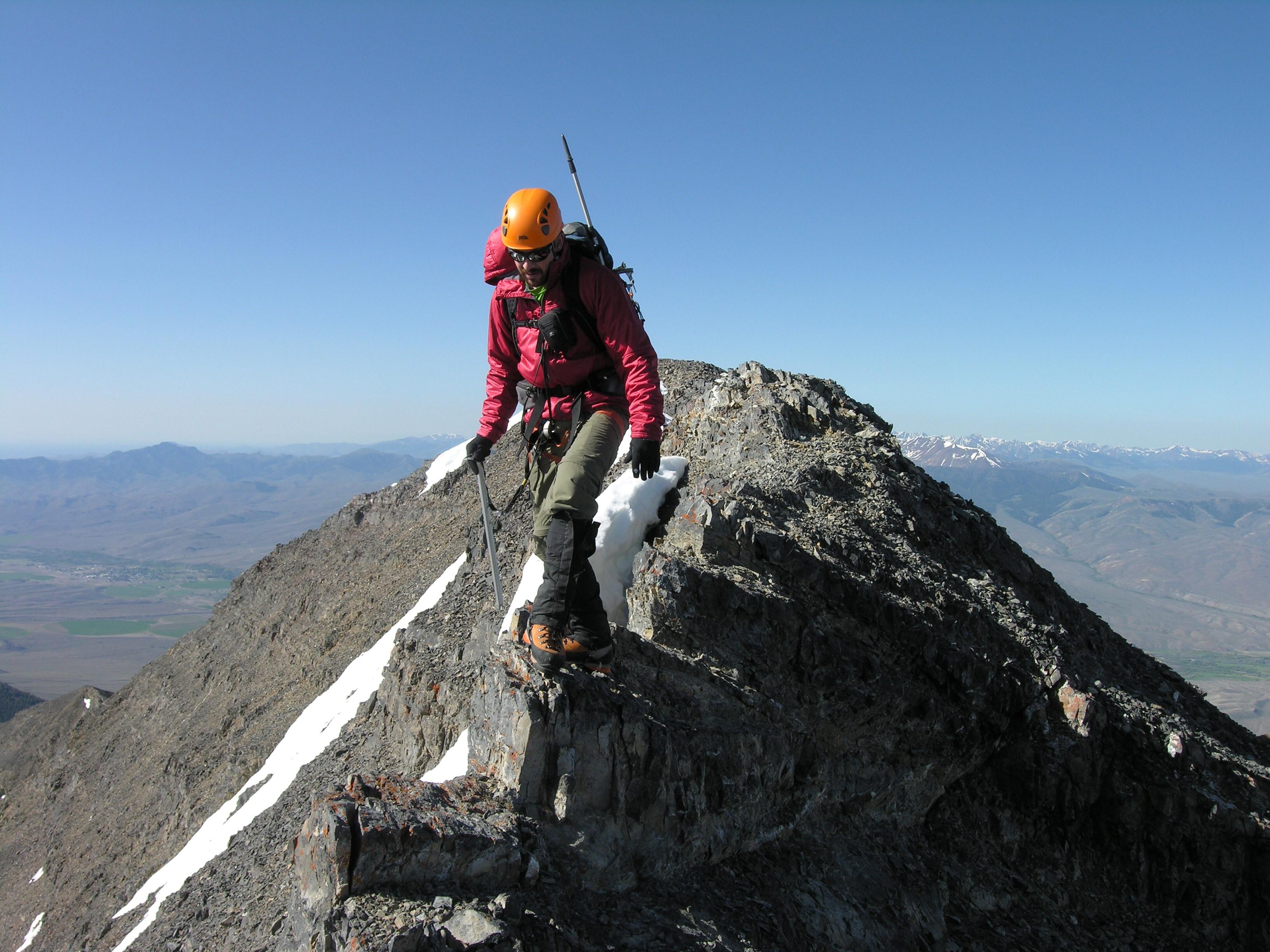 Crossing the summit ridge. Photo - Dan Paulson