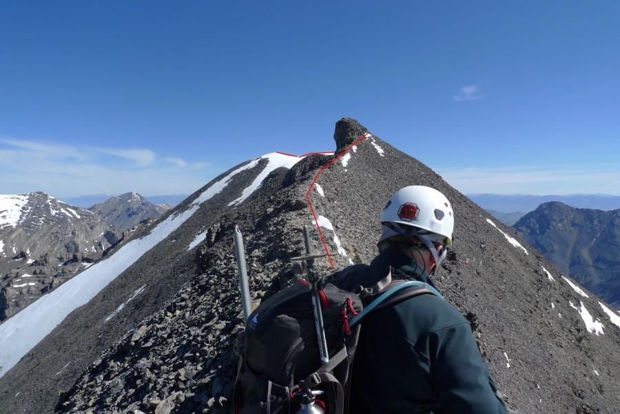 The route along the summit ridge. Photo - Dan Paulson
