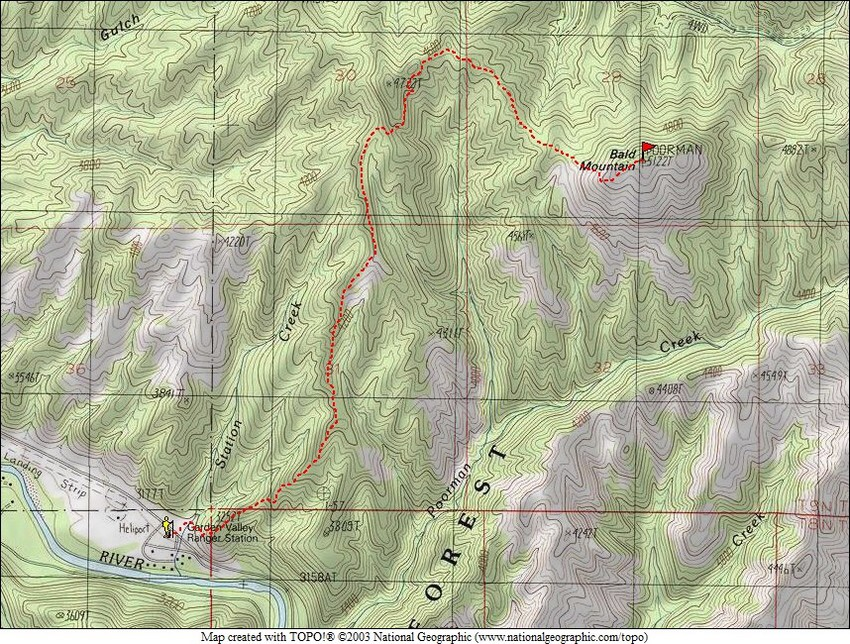 This map prepared by Dave Pahlas shows the route line followed to the peaks summit.