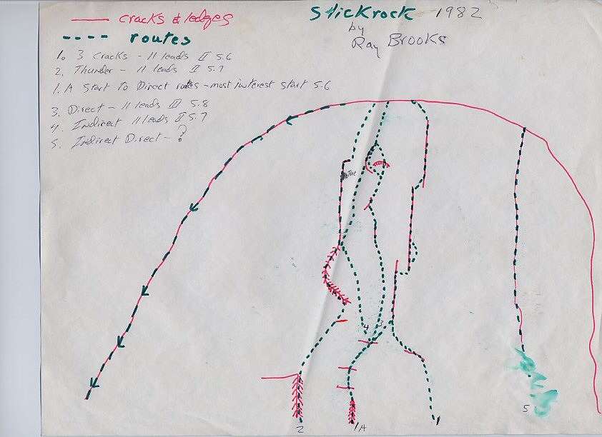 Slick Rock Route Drawing 1982. Ray Brooks Photo