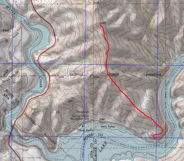 John Platt's map showing the most popular and recommended route on the peak. This route is not in the book.