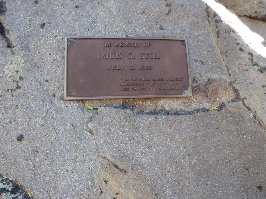 A memorial to Louis Stur on Mount Ebert. Louis died in a fall on the peak. Ralph Shelton Photo