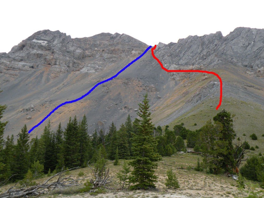 Ascending the west side of Diamond Peak involves a classic talus climb. The blue line is the ascent and the red line the descent taken by Zach Vickery and Matt Durant. Zack's Photo