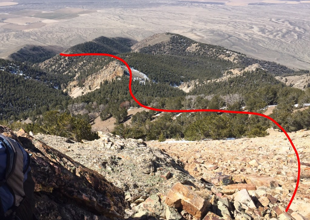 The southwest ridge route viewed from the top down. 3.0 miles one way with roughly 3600 feet of elevation gain.