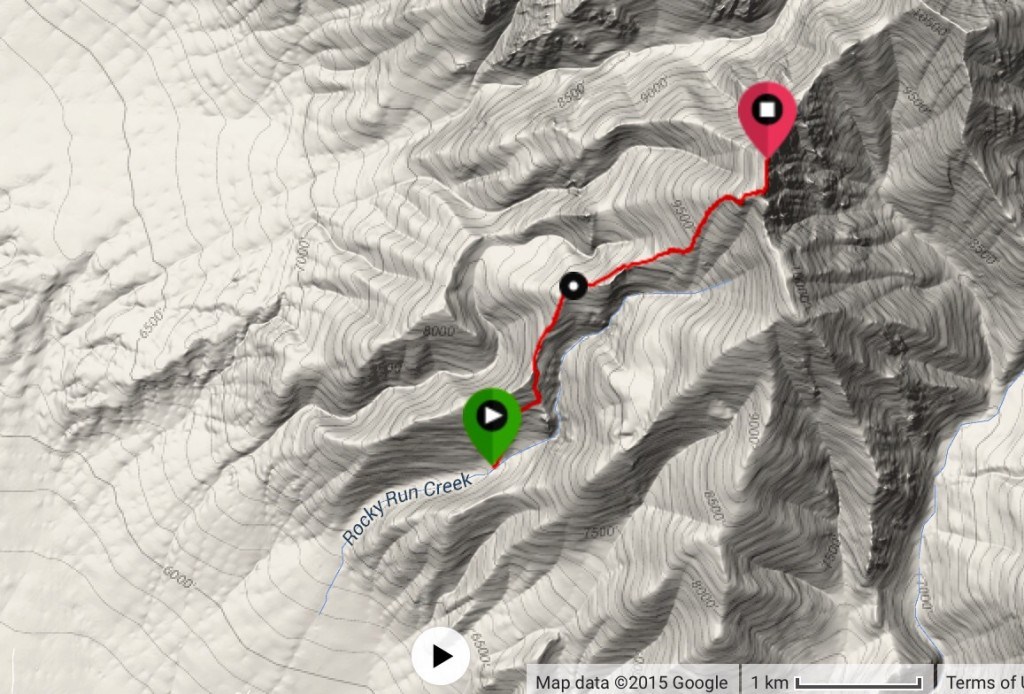 Dan's GPS track from the parking spot to the summit.