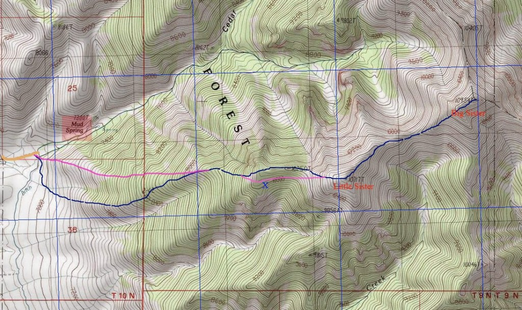 This map,shows Larry Prescott's track from Mud Springs to Little and Big Sister peaks. Larry Prescott Map