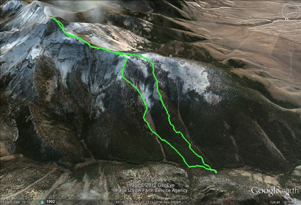 There are lots of lines you can follow up to the summit block from the Little Lost River valley. Here is Margo Mandella's GPS track.