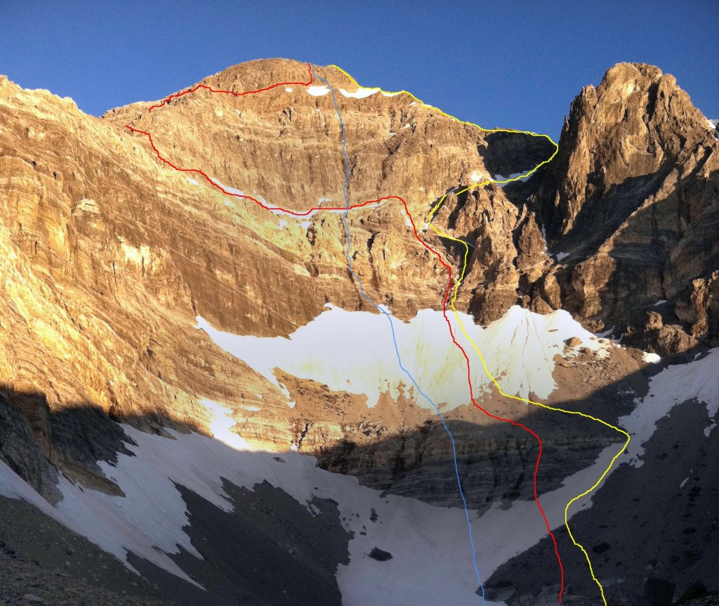 East Face Routes. The blue line is the Direct, red the Dirty Traverse and yellow the East Face variation. Photo - Wes Collins