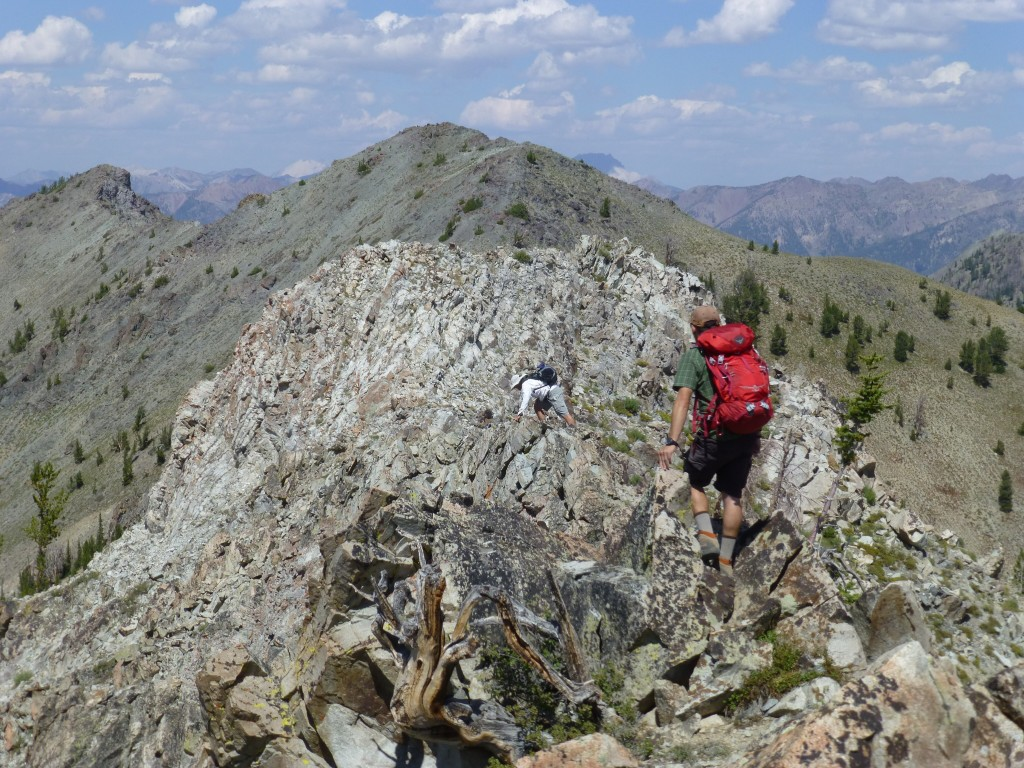 Crossing the summit ridge. Dan Robbins Photo