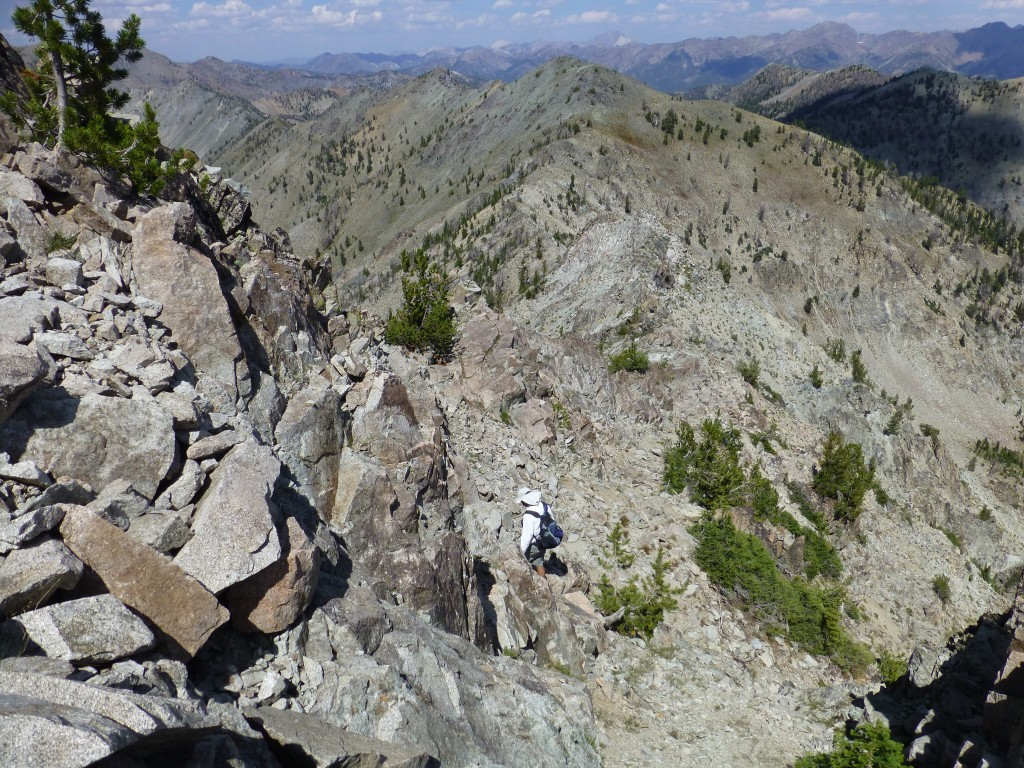 Descending down the peak's north ridge. Dan Robbins Photo