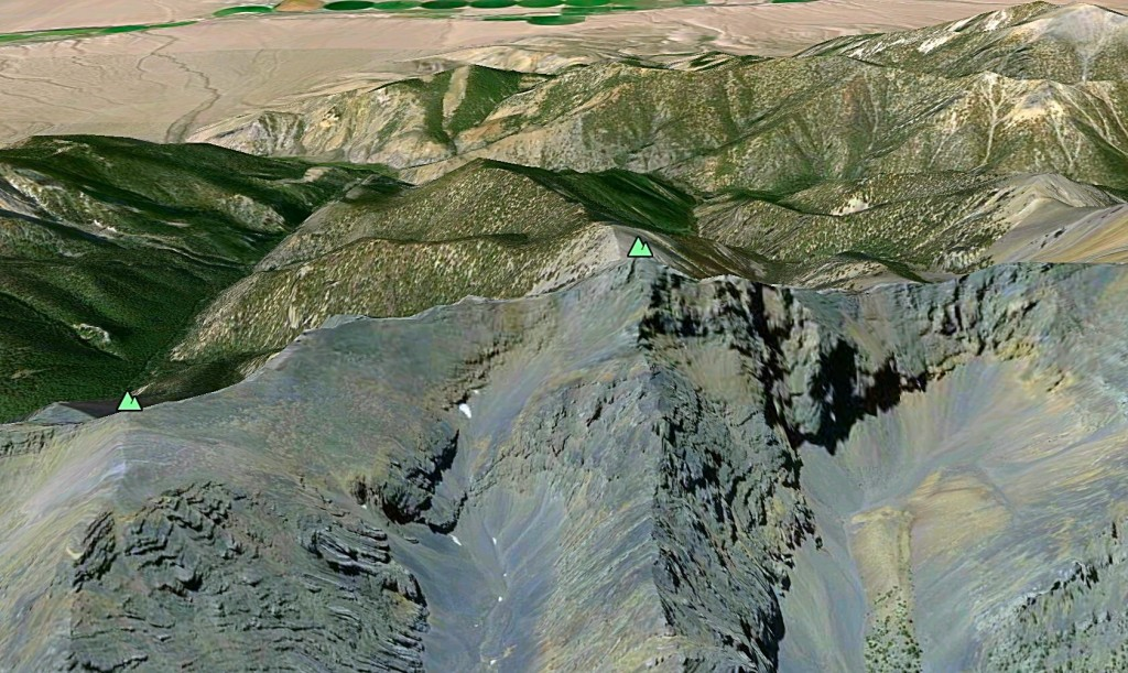 A Google Earth image showing the southeast face.
