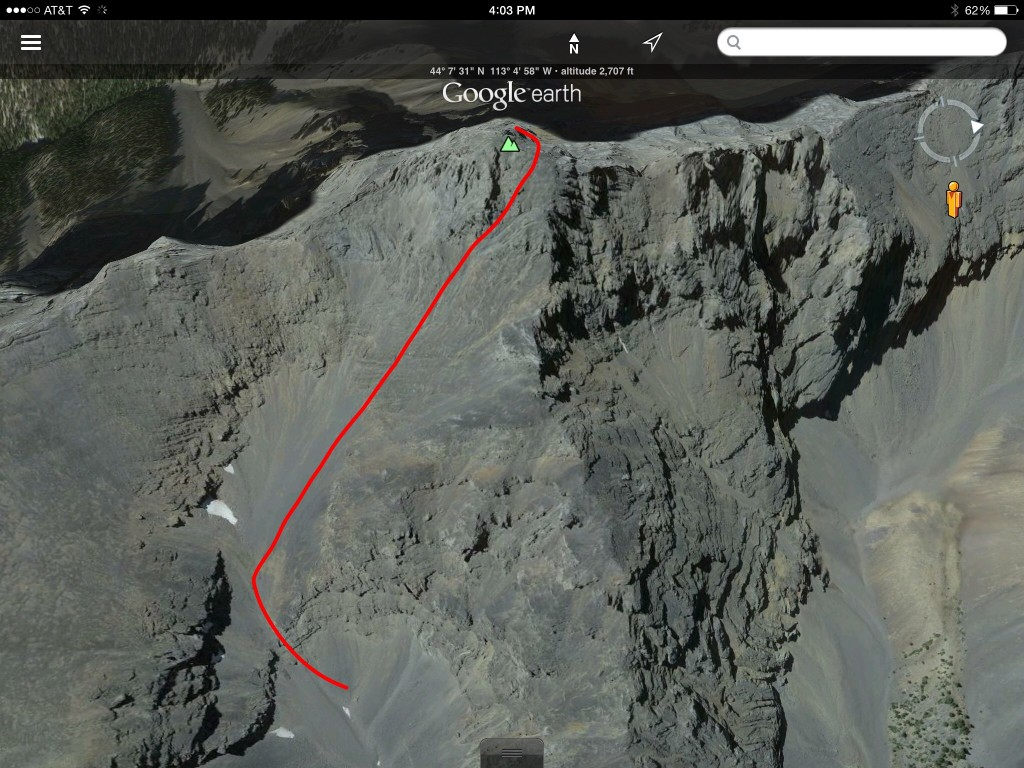 The route drawn on a Google Earth image.