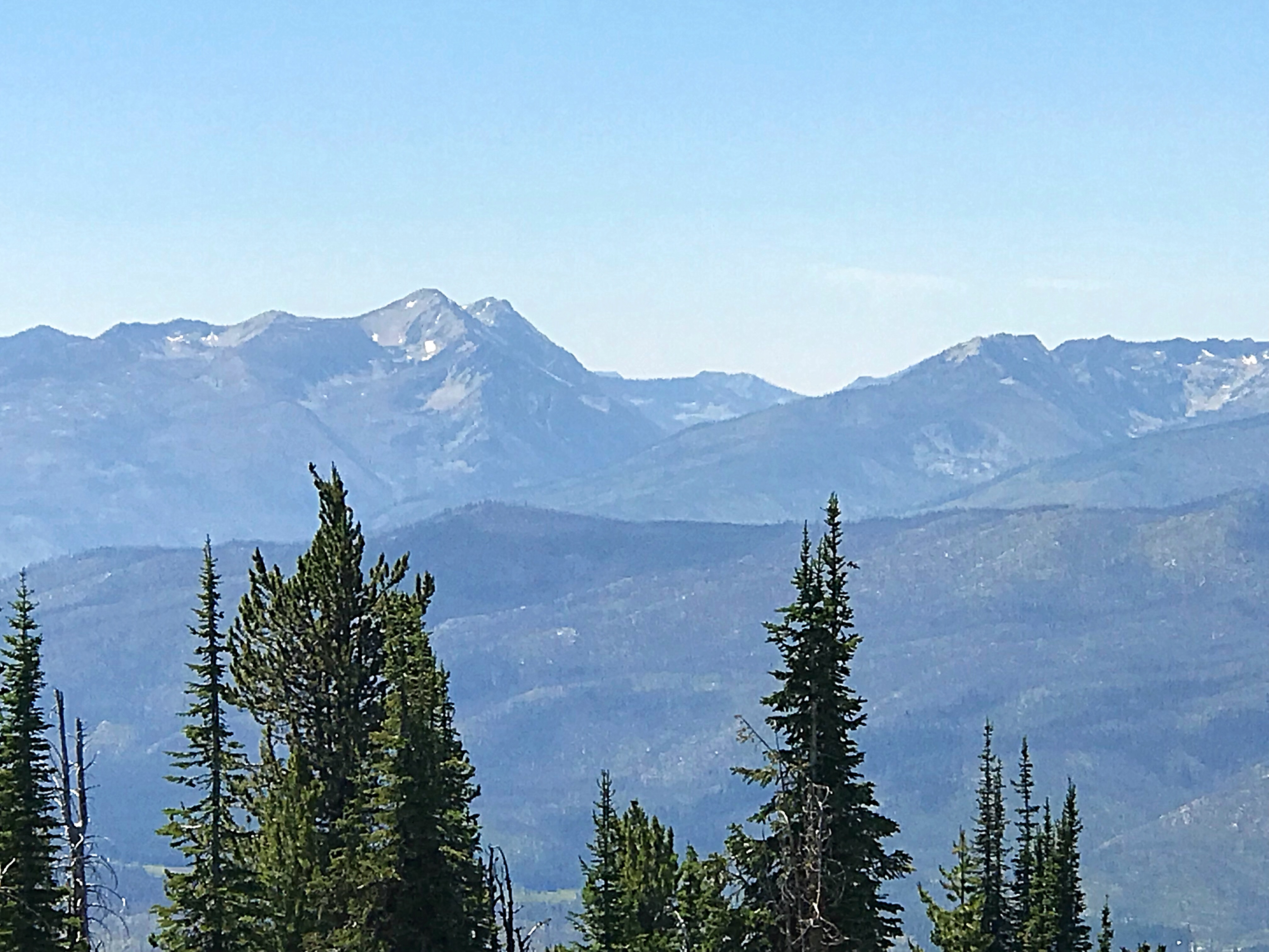 The northern Lick Creek Range viewed from War Eagle Mountain. North and South Loon peaks are on the left. Storm Mountain on the right.