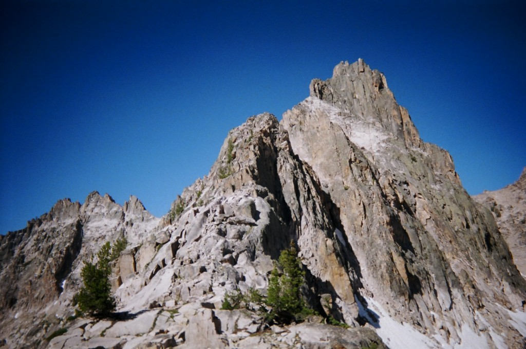 The view up the NE ridge from the Packrat / Alpine Saddle.