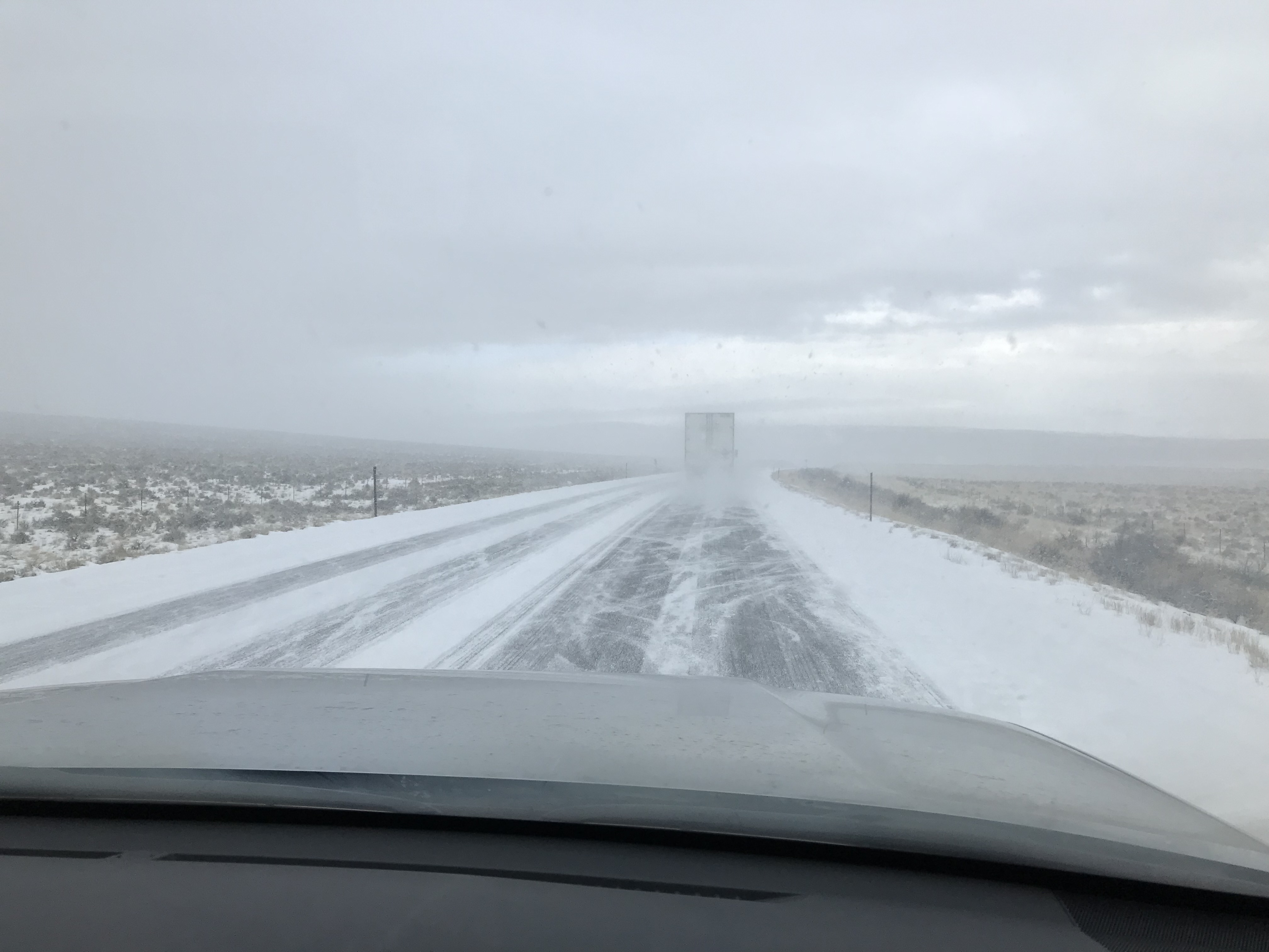 As we drove south winter was engaged in a new offensive. It was snowing hard on the Idaho Nevada border.
