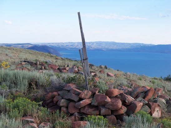 Station 'Gate' at highpoint of Bear Lake Plateau. View S to the Utah portion of Bear Lake, 7/14/13. Rick Baugher Photo