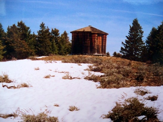 The 20' wooden water tank on the summit. Rick Baugher Photo