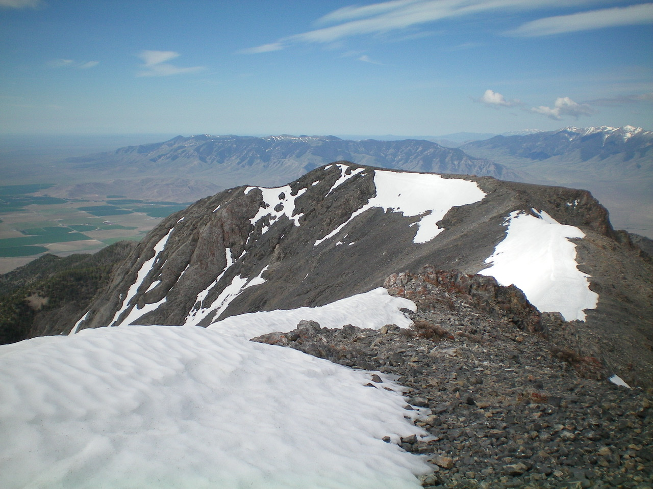 The summit ridge of Saddle Mountain, as viewed from the Northeast Summit. The [lower] Southwest Summit is in dead center. Livingston Douglas Photo