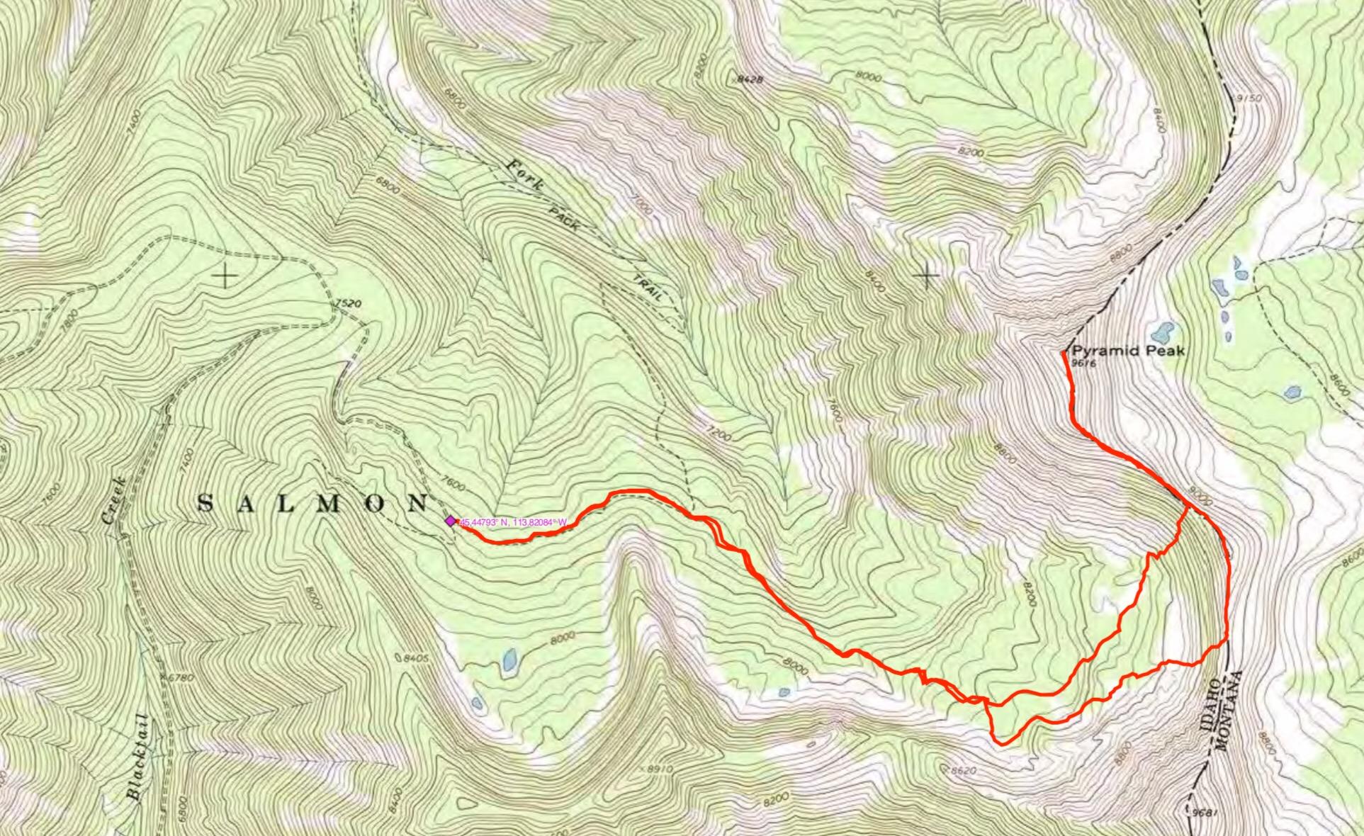 John Platt's GPS track. John measured the route as 7.5 miles with 2,335 feet of gain round trip.