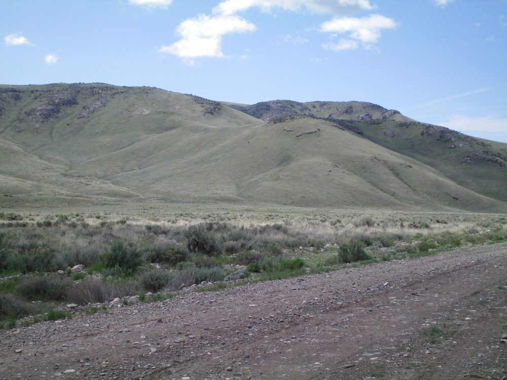 The lower section of the Northwest Ridge of Peak 7194. The ridge begins as a gentle hill (just R of center) and climbs leftward. The left skyline is the middle section of the Northwest Ridge. Livingston Douglas Photo